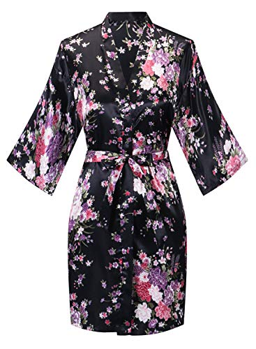 Robes for Women Lightweight Long Sleeve Bathrobe Knee-Length Spa Robe Cherry Blossoms Embroidered with Belt Black M-Size