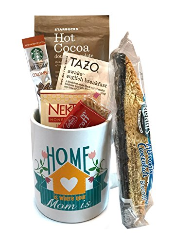 Coffee Tea Cocoa Mug Gift Set with Starbucks Via Coffee, Starbucks Hot Cocoa, Tazo Tea, Honey, Nonni's Biscotti + More -Lots of Cup Styles- (Home Is Where Your Mom Is) (Coffee Baskets For Delivery)