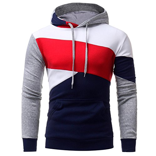 Mens Novelty Color Block Hoodies Cozy Sport Outwear, Mens' Long Sleeve Hooded Sweatshirt Tops Jacket Coat (Navy, L) by HTHJSCO