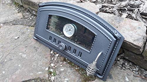 Home&Wood Portes pour Un Four à Pizza en Fonte poêle à Bois Porte du Four en Fonte Pierre 490x280 avec thermomètre et Verre/Gauche/