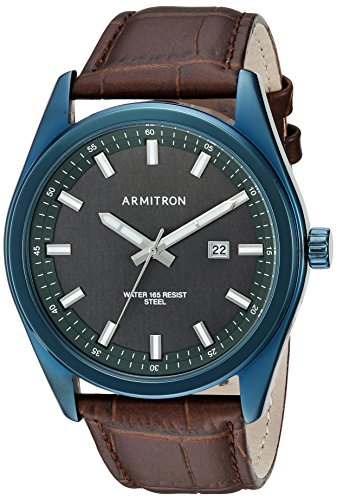 Armitron-Mens-205087DGNVBN-Date-Calendar-Function-Navy-Blue-and-Brown-Croco-Grain-Leather-Strap-Watch
