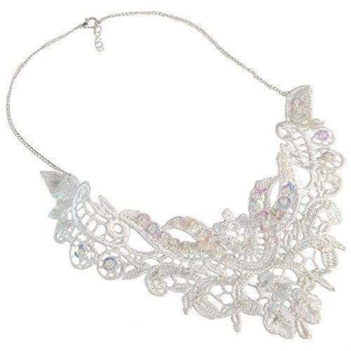 Gothic Bridal Lace Statement Necklace Handmade Lolita Wedding Jewelry White Beaded Sequins