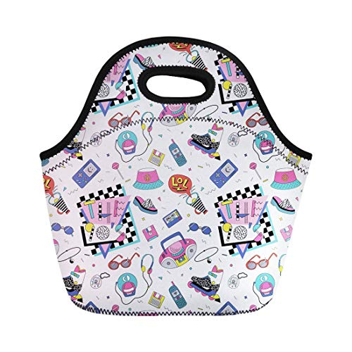 (Virsa Neoprene Lunch Tote Bag Retro Patch Badges Roller Skates Cassette Players Sun Glasses Reusable Cooler Bags Insulated Thermal Picnic Handbag for Travel,School,Outdoors, Work)