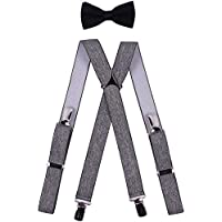 BODY STRENTH Mens Kids Suspenders Bow Tie Set Adjustable X Shape