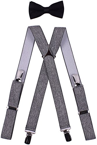 BODY STRENTH Kids Suspenders Bow Tie Set Adjustable X Shape Grey 30 Inches ()
