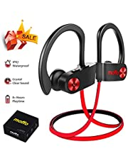 Moffo Wireless Headphones, IPX7 Waterproof Wireless Earbuds, HiFi Bass Stereo In Ear Sport Sweatproof Earbuds Noise Cancelling Headset With Built-in Mic for Sport Gym Running Workout 8 Hrs