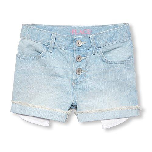 The Children's Place Big Girls' Denim Shorts, Sky WASH 01152, 4
