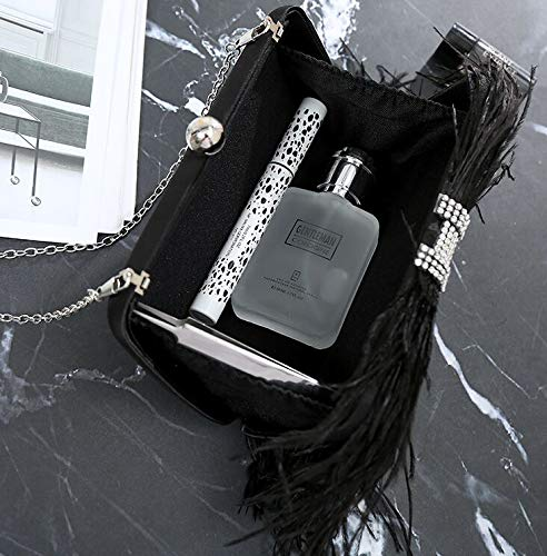 Shoulder for Center Crystal Bridal Feather L'vow Black Handbag Ostrich Evening Women Bag Clutch Purse wAPqq1z
