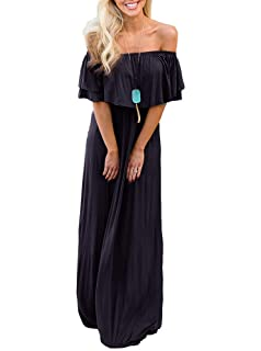 20dcb3fcbf915 ReoRia Womens Off The Shoulder Ruffle Top Party Dresses Summer Maxi Dress