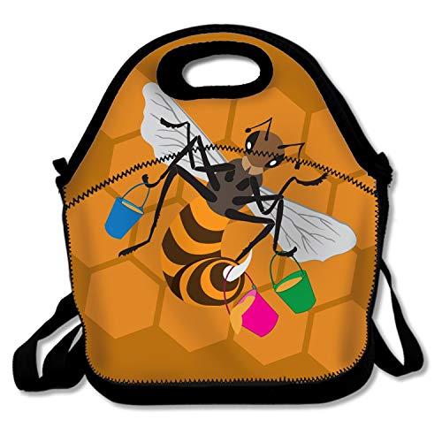Cute Lunch Tote Bag Women StudentsBee Honeycomb Bucket (Female Bucket Honey)