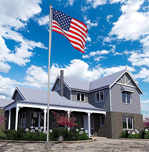 Flag Link - Super Tough 25ft Outdoor Flagpole - 4'x6' USA Valley Forge Flag (Satin)