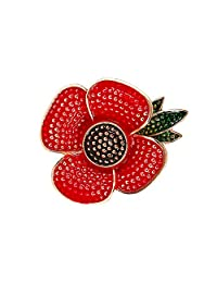 Bluecookies Poppies Brooch Shirt Sweater Rhinestone Corsage Brooch Women Clothing Pin Fashion Personality Brooch Shawl Clip Jewelry Wedding Prom Memorial Gifts Presents