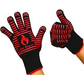 46% OFF! HOT GLOVES - Extreme Heat Resistant Cooking Gloves - Premium Quality - Oven Gloves - BBQ Gloves (2 Gloves - Black) + Bonus: Premium BBQ Recipes Cookbook