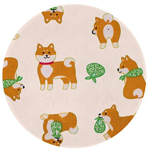 Zeajant Round Area Rug Non-Slip Cream Fabric Cute Brown Dog Green Scarf Entrance Rug Floor Mat Door Mat Rug Indoor/Outdoor/Front Door/Bedroom Mats ()