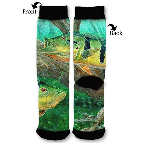 EKUIOP Socks Peacock Bass Fishing Funny Fashion Novelty Advanced Moisture Wicking Sock for Man Women
