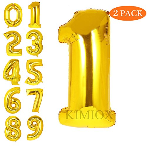 KIMIOX Number Balloons, 2 Pcs 40 Inch Birthday Number Balloon Party Decorations Supplies Helium Foil Mylar Digital Balloons (Gold Number - Mylar One Balloon Number
