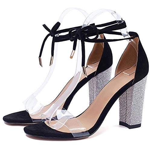 Susanny Womens Heeled Sandals Gladiator High Heels Pumps Strappy Sandal Party Rhinestone Shoes Black 9.5 B (M) US ()
