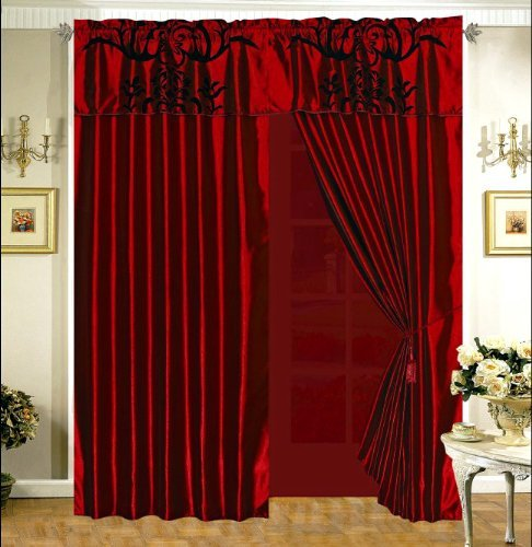 3-Layer Modern Flock Satin Black Burgundy Red Faux Silk Curtain Set with attached valance and sheer back ()
