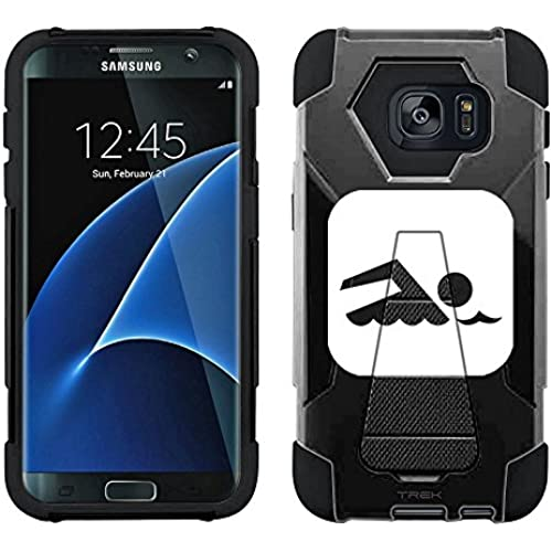 Samsung Galaxy S7 Edge Hybrid Case Silhouette Swim Swimmer on Black 2 Piece Style Silicone Case Cover with Stand for Samsung Galaxy S7 Edge Sales