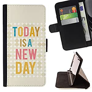 Today Is New Day Quote Text Motivational - Painting Art Smile Face Style Design PU Leather Flip Stand Case Cover FOR Samsung Galaxy Note 4 IV @ The Smurfs