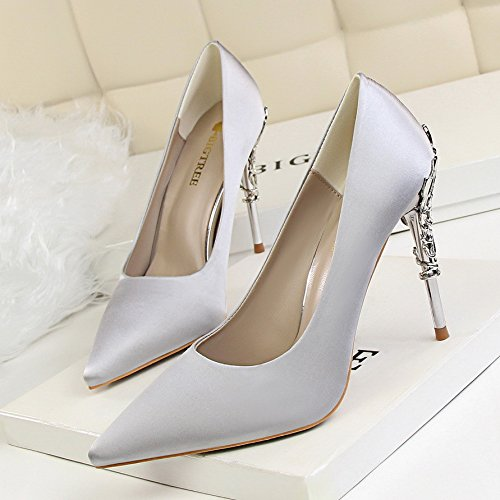 Elegante grafica singola Grigio 36 scarpe ugello nozze di High Damasco metallo Heeled punta scarpe in Argento luce e con sottile belle PzPrU7Rq