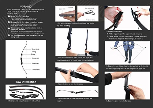 Toparchery Archery 56 Takedown Hunting 40lbs Recurve Bow Metal Riser Right Hand Black Longbow