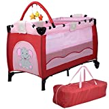 New MTN-G Pink Baby Crib Playpen Playard Pack Travel Infant Bassinet Bed Foldable