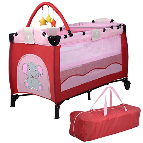 Pink Baby Crib Playpen Playard Pack Travel Infant Bassinet Bed Foldable + FREE E - Book by Eight24hours