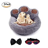 Be Good Pet Bed Cute Paw Shaped Dog Sofa Bed with Soft and Cozy Plush Anti-Slip Bottom Portable Grey Dog Mattress for Small Medium Dogs Cats Puppies with Bow Tie and Sunglasses L