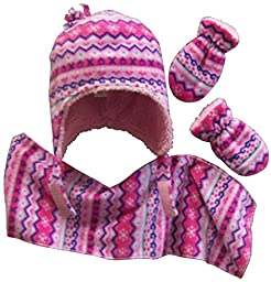 N\'Ice Caps Girls Sherpa Lined Fair Isle Printed Fleece hat/scarf/mitten Set (6-18 months, fuchsia/pink/purple/white/turq)