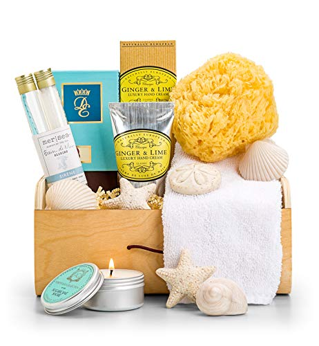 GiftTree Beach Spa Crate Gift Basket | Ocean Themed Bath Set | Includes Soaking Salts, Bubble Bath, Citrus Soaps, Travel Soy Candle & Sea Sponge Loofah | Great Gift for Her, Holiday, Mother's Day ()