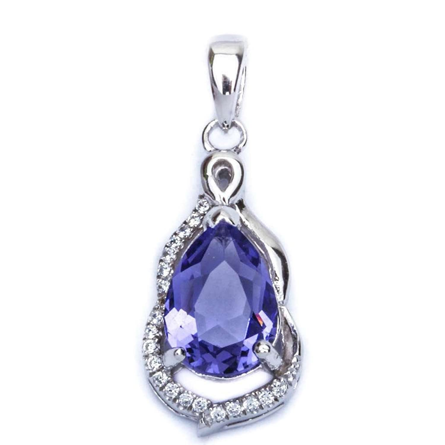 "1"" Teardrop Simulated Tanzanite Pendant Round Cubic Zirconia 925 Sterling Silver"