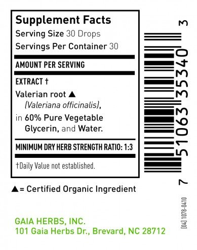 Gaia Herbs - Valerian Root Alcohol-nix 2 ounce