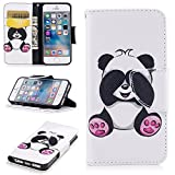 iPhone 5 5S SE Case, XinSop Colorful Animal Painted Premium PU Leather Magnetic Closure Flip Stand Shockproof Cover Side Pocket Folio Phone Wallet Case for iPhone 5/5S/SE - Lovely Panda