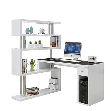31 4 Bookshelf White Camera Da Letto Rotante Scrivania Angolare