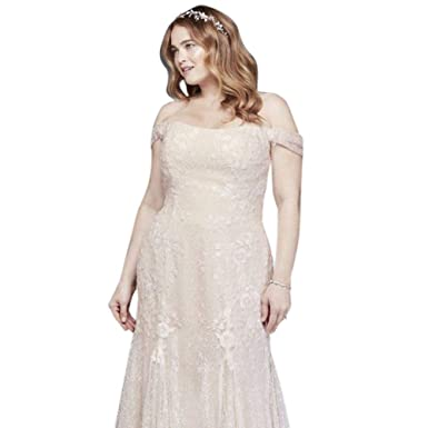 04ff8111dfdac Swag Sleeve Layered Lace Plus Size Wedding Dress Style 8MS251196 at Amazon  Women s Clothing store