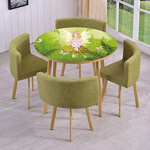 Round Table/Wall/Floor Decal Strikers/Removable/Magic Fairy Girl with Floral Hairstyle in Green Forest Pink Butterflies/for Living Room/Kitchens/Office -