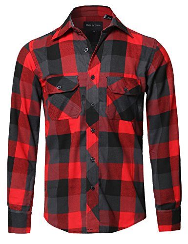 Style by William Casual Plaid Flannel Woven Long Sleeves But