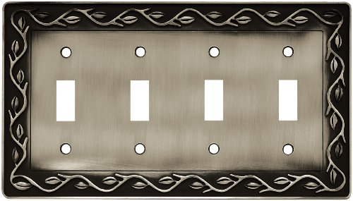 (Liberty Hardware 64182 Leaf and Vine Quad Switch Wall Plate, Brushed Satin Pewter)