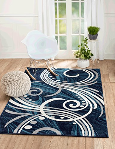 NEW Summit ELITE S 61 BLUE GREY WHITE SWIRL SCROLLS Area Rug Modern Abstract Rug Many (5X7 ACTUAL SIZE IS 4',10'' X 7'.2'') (Swirls White Floral)