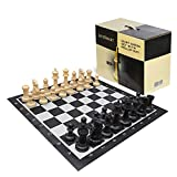 LifeSmart Large Roll Up Chessboard and Chess Set - 3 Feet by 3 Feet - 8-inch Tall King – Oversized...