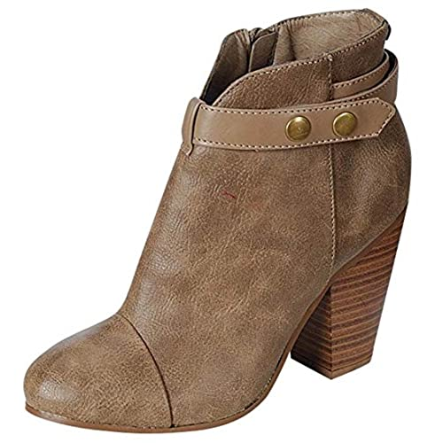 Breckelle's HEATHER-32 Women's High Top Belted Chunky Stacked Heel Ankle Booties  Color:BEIGE  Size:8 - 5B9A8TZXE