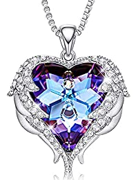 Angel Wing Necklaces for Women Christmas Jewelry Gifts Embellished with Crystals from Swarovski Pendant Necklace Heart of Ocean Jewelry with GIF Box