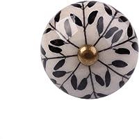 Puxador de cerâmica 1700 branco e preto Le Souk