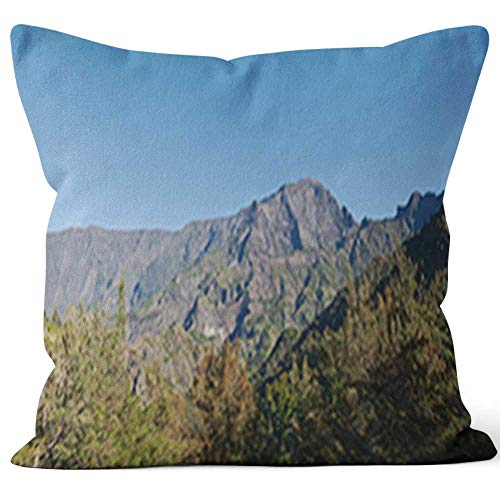 - Nine City Cirque of Cilaos in Reunion Island Sack Burlap Pillow,HD Printing Square Pillow case,18