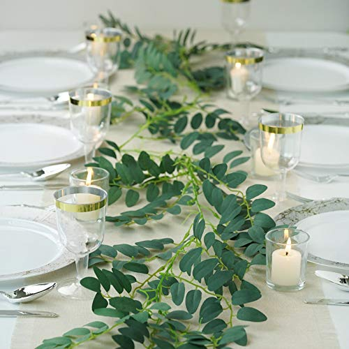 Efavormart 2 Pack | 12 FT Honey Locust Artificial Leaf Garland for Wedding Decor Pary Banquet Decoration ()