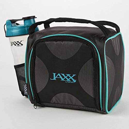 Fit and Fresh 944FFJXTEAL Original Jaxx FitPak Insulated Cooler Lunch Box, Meal Prep Bag with Portion Control Containers, Ice Pack, 28 oz Shaker Standard Teal