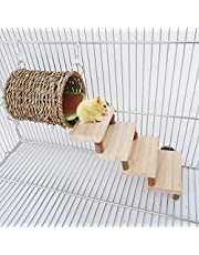 Hamster Chew Toys, Small Pets Warm Nest with Stairs and Pads, Rats Natural Wooden Playing Drill Tube, Teeth Care Molar Cage Toys Accessories for Birds, Syrian Hamster, Sugar Glider, Gerbils