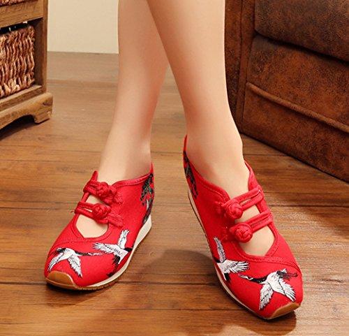 Avacostume Vrouwen Kraan Borduren Sleehak Mode Casual Sneakers Rood