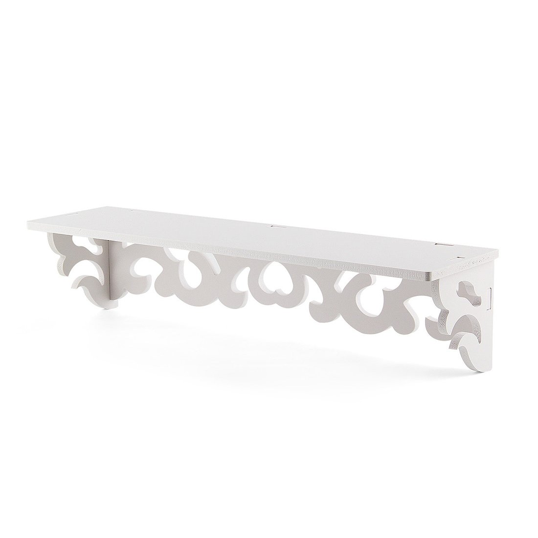 SODIAL(R) Set of 2 White Shabby Chic Filigree Style Shelves Cut Out Design Wall Shelf Home
